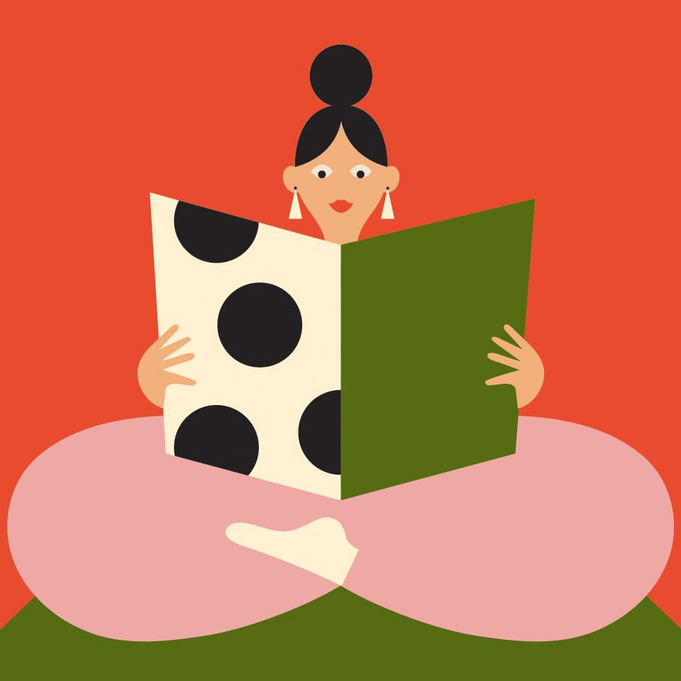 woman cross legged menu reading