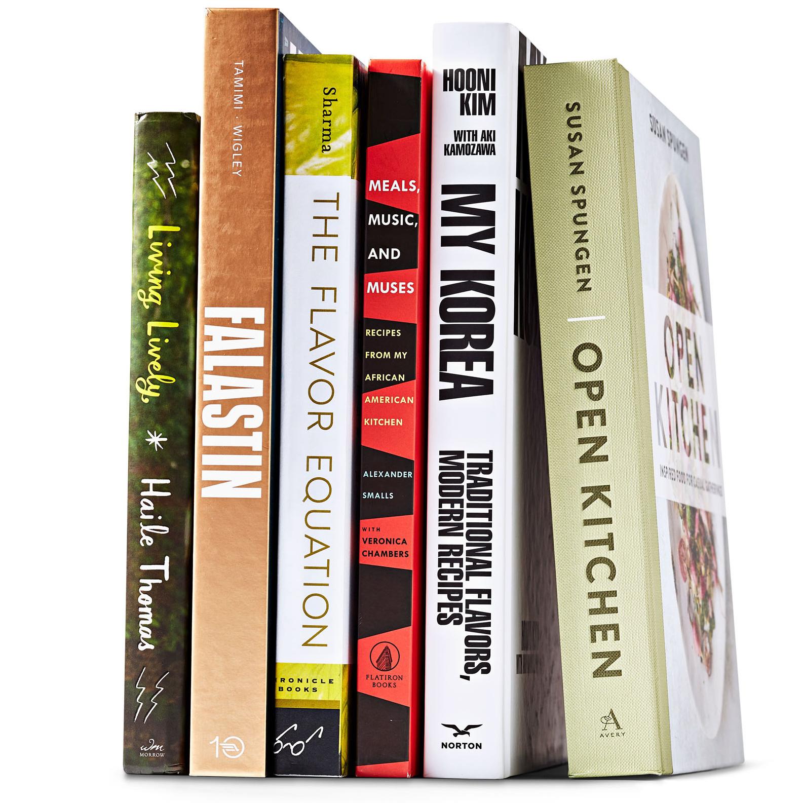 six cookbooks lined up