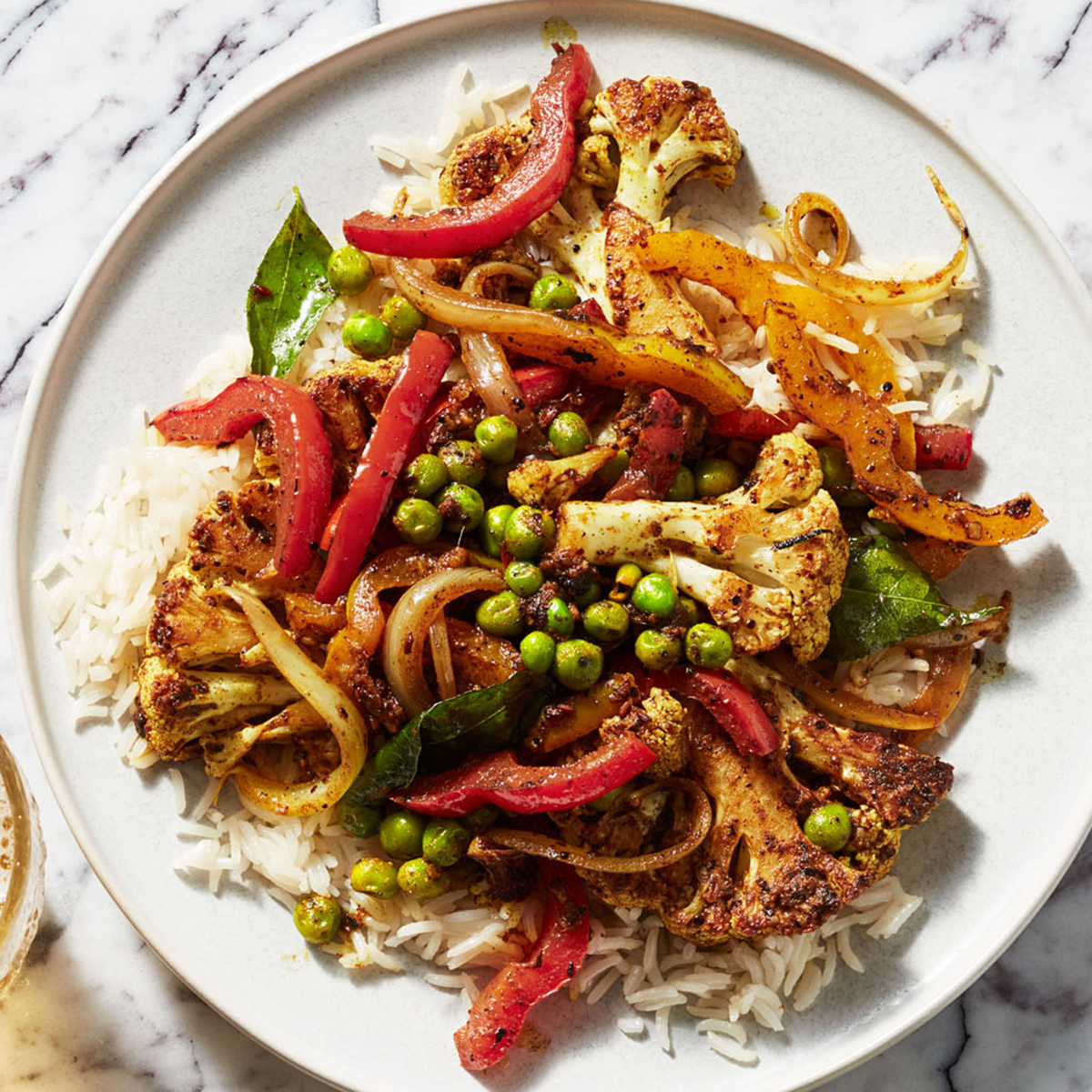 Indian Spiced Cauliflower with Peas, Peppers & Basmati Rice Recipe