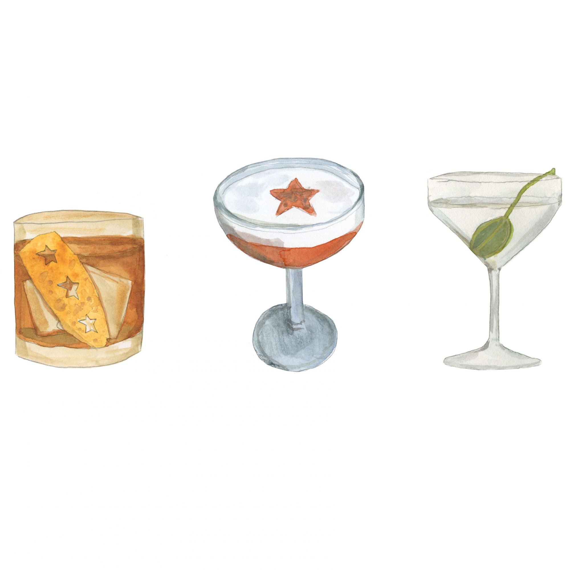 three variations of garnished cocktails illustration