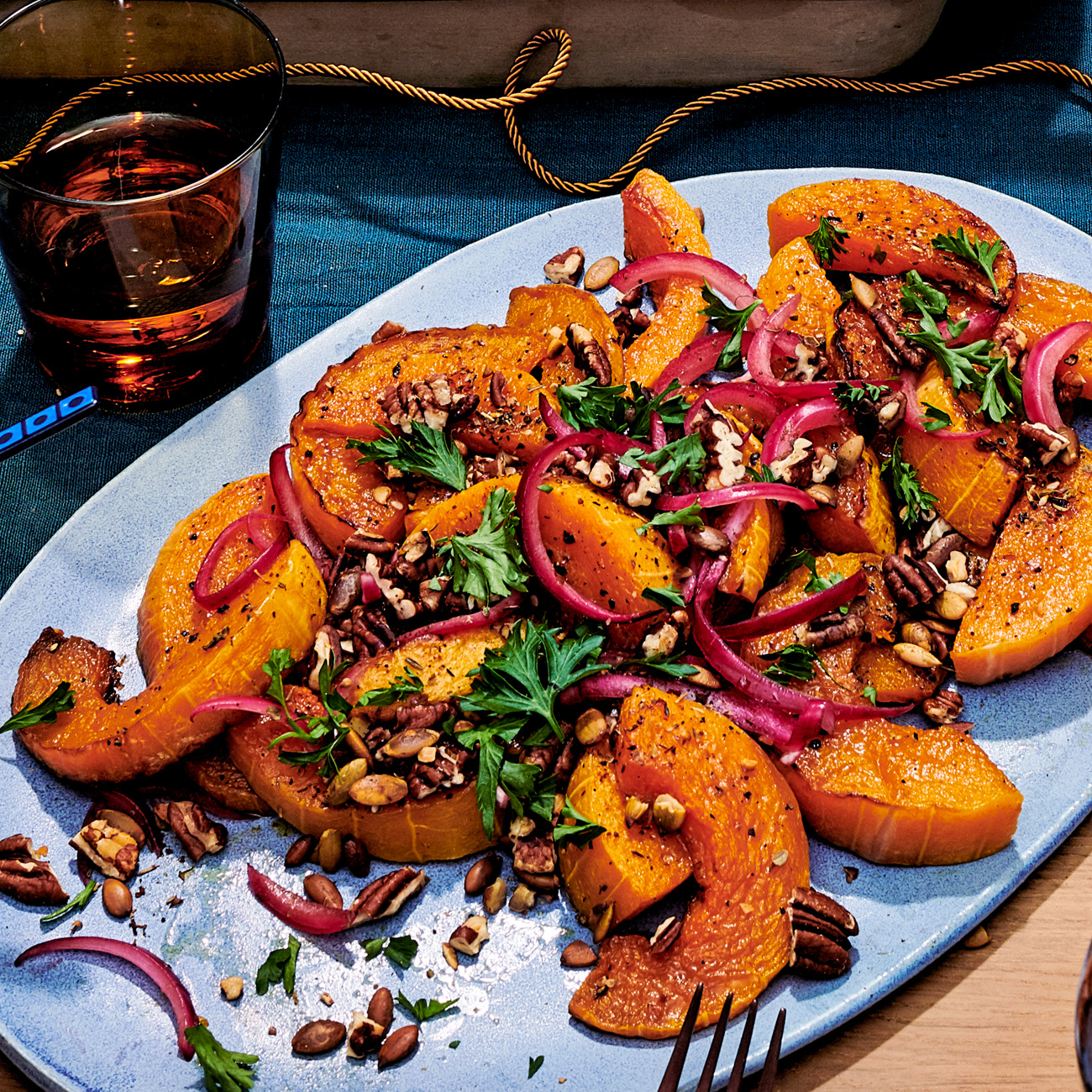 roasted squash with pickled red onions