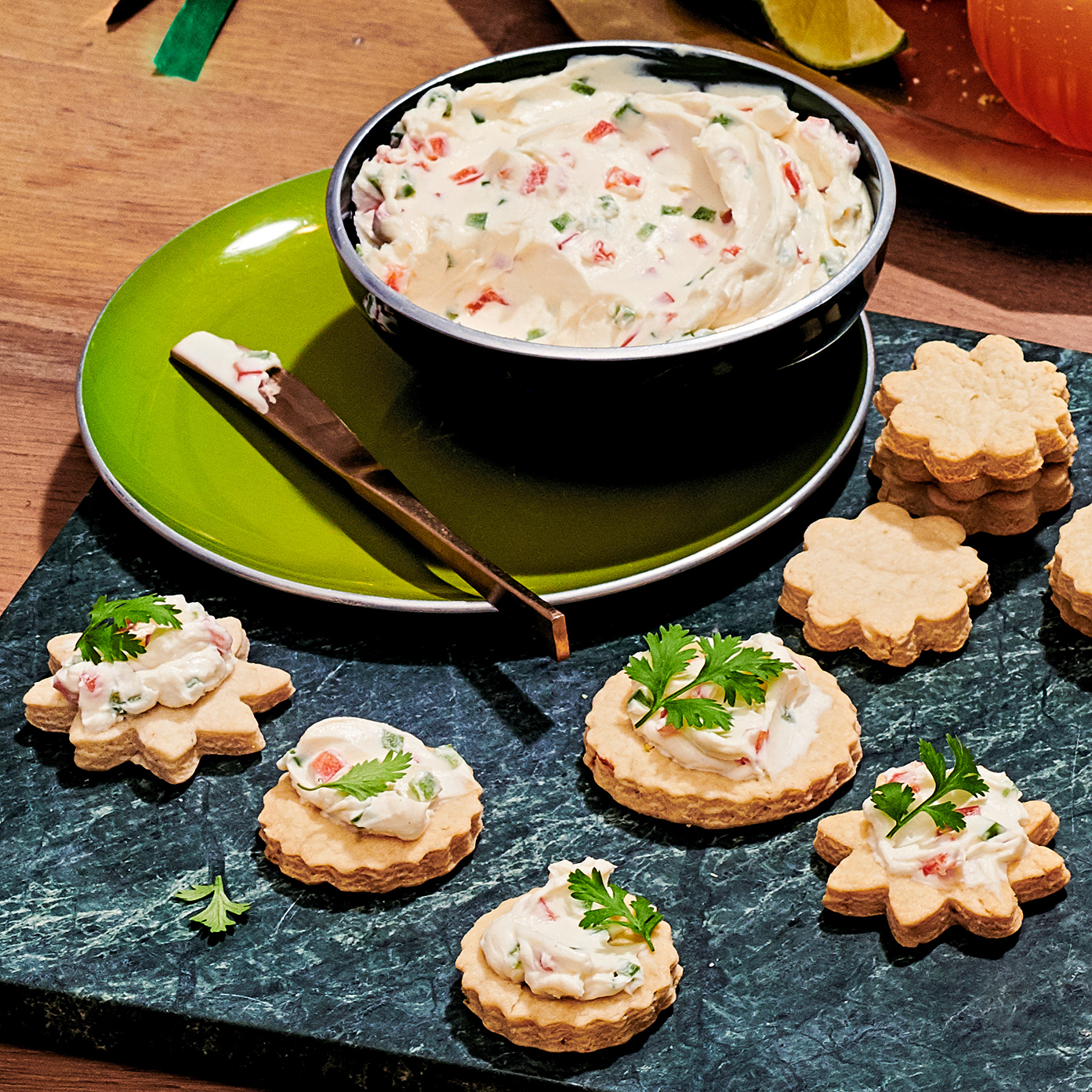 salted lime crackers and jalapeño cream cheese