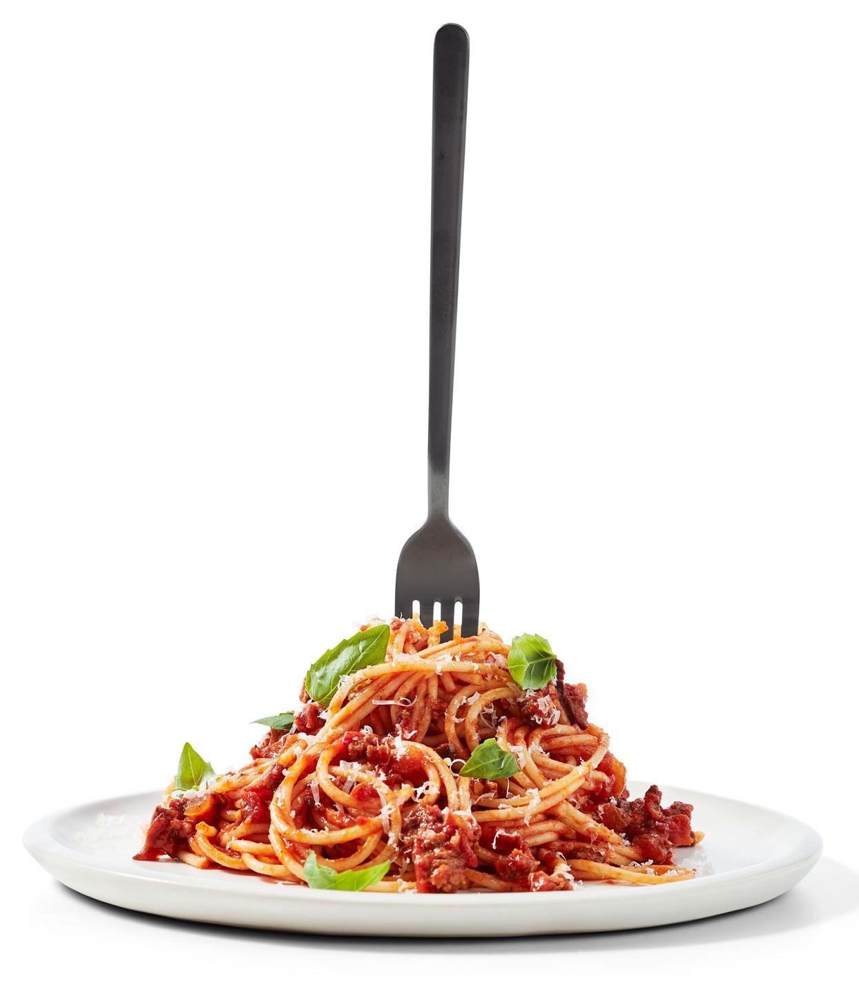 spaghetti with lamb and olive ragu