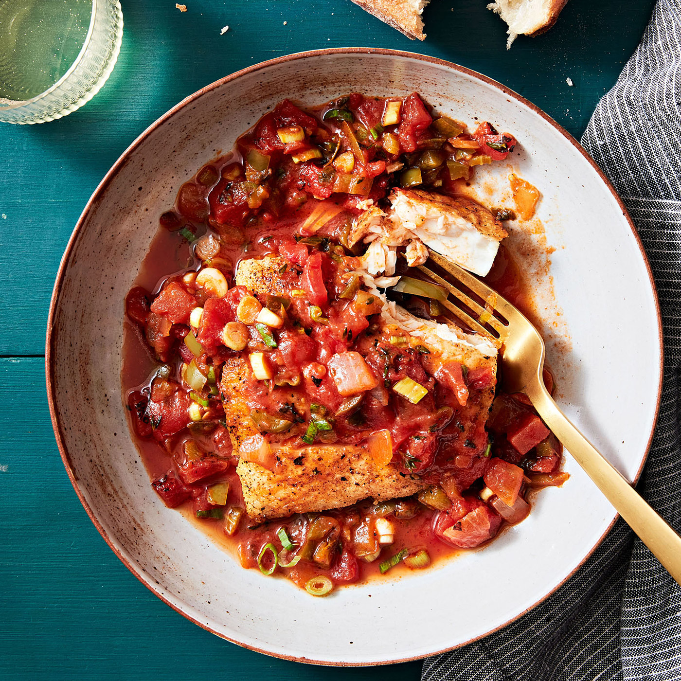 Halibut Chicken with Creole Sauce