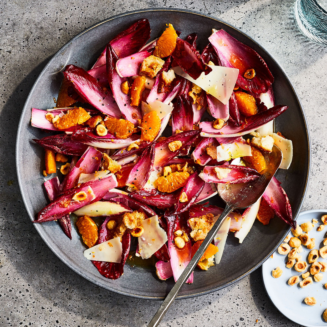 Red Endive, Mandarin & Manchego Salad with Toasted Hazelnuts