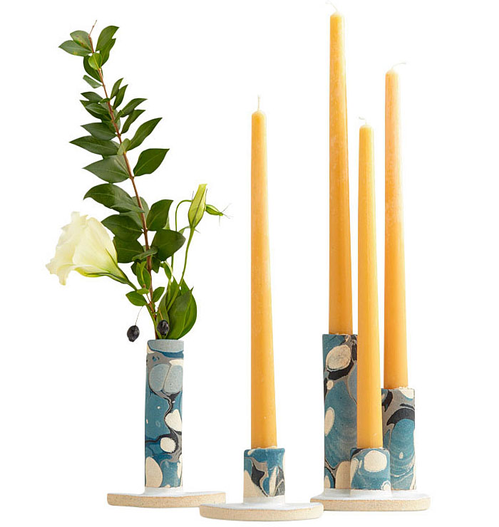 marbled Candlestick Holders assorted sizes