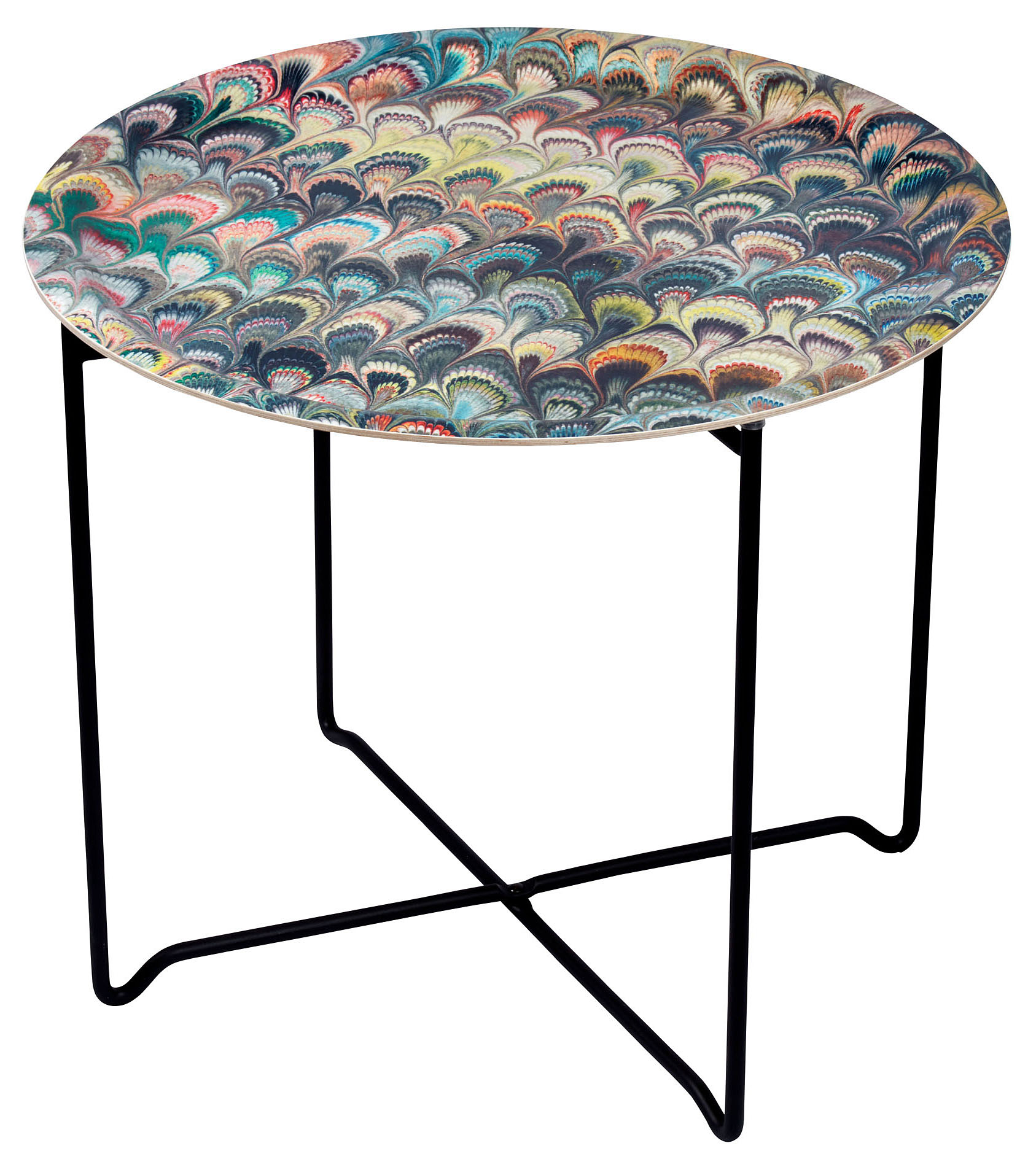 Marbleized Tray and black Metal Tray Stand