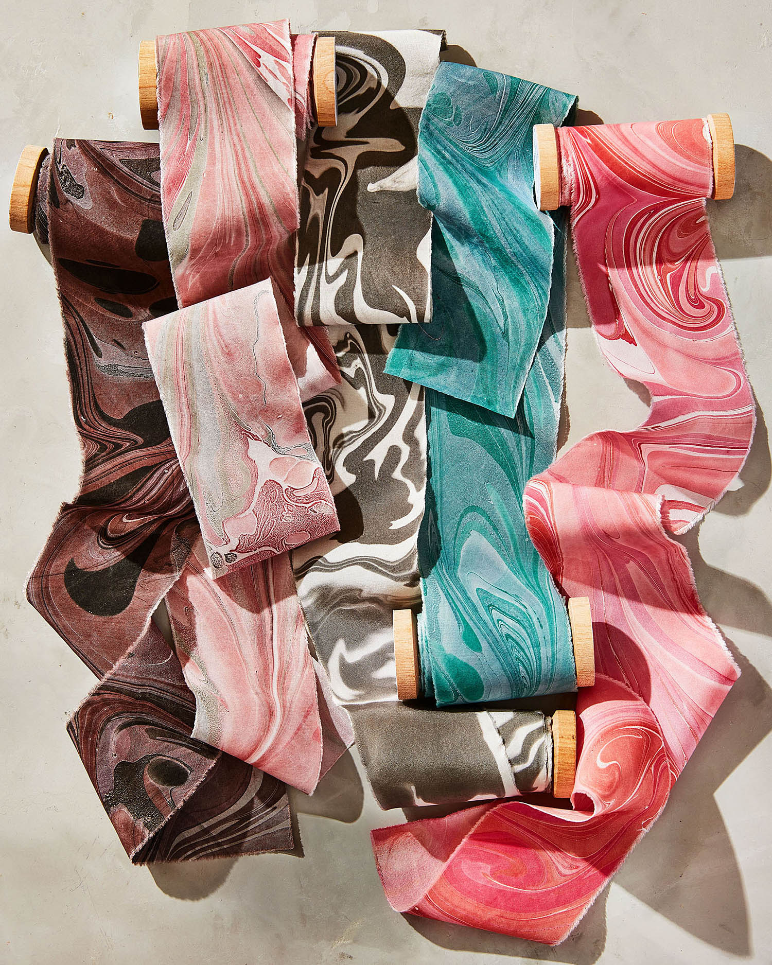 assortment of marbled ribbons