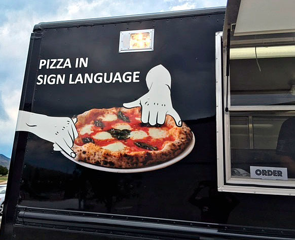 Pizza in Sign Language truck signage