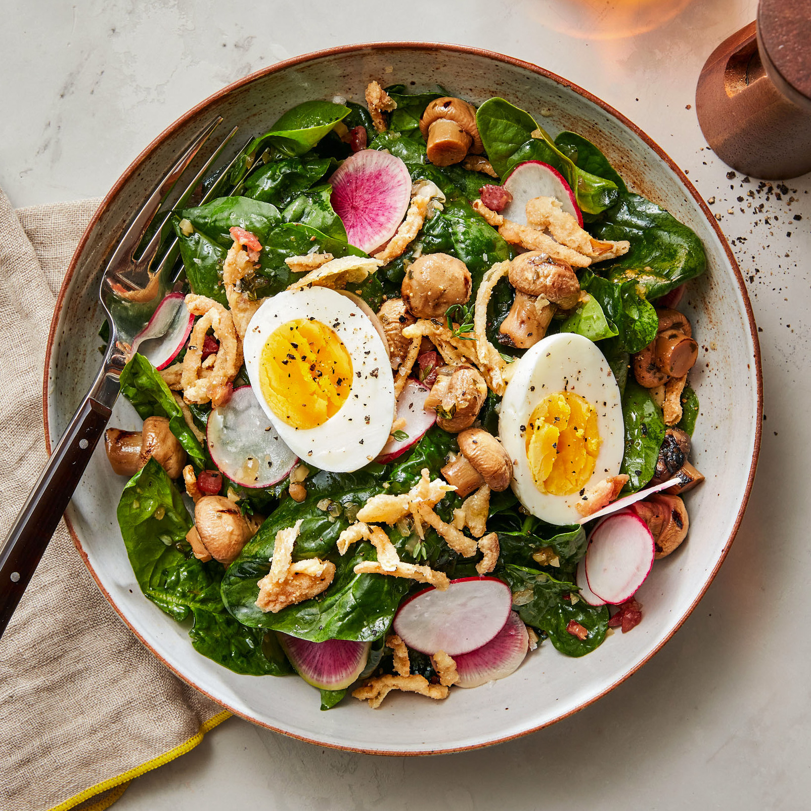 Spinach Salad with Warm Bacon-Maple Dressing