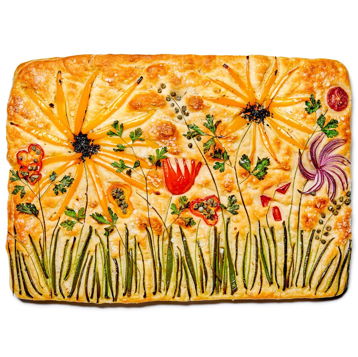 decorative sunflower focaccia