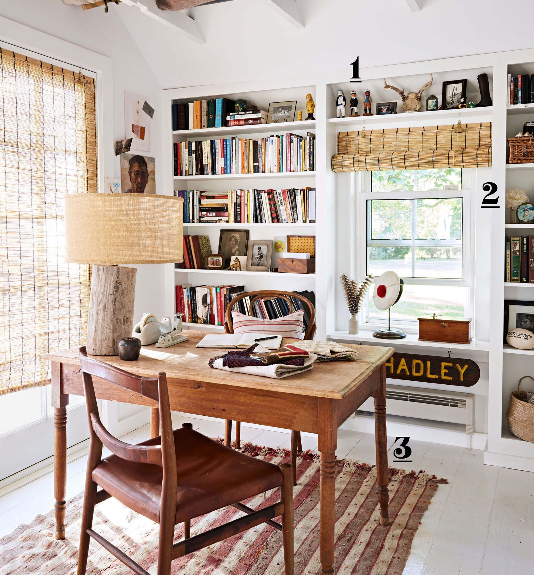 white home office with built-in shelves