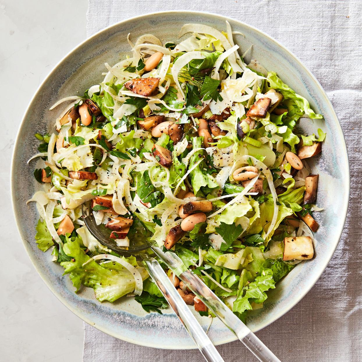 Escarole Salad with Portobellos