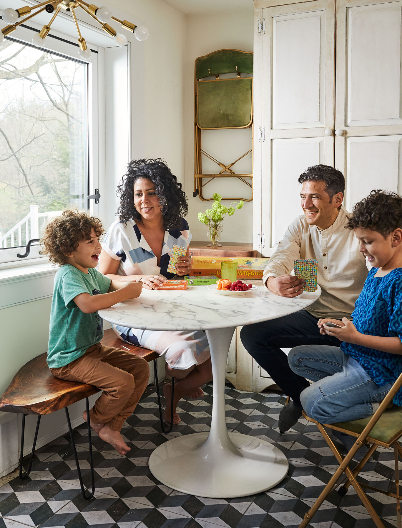 Evette Rios home family in kitchen dining nook