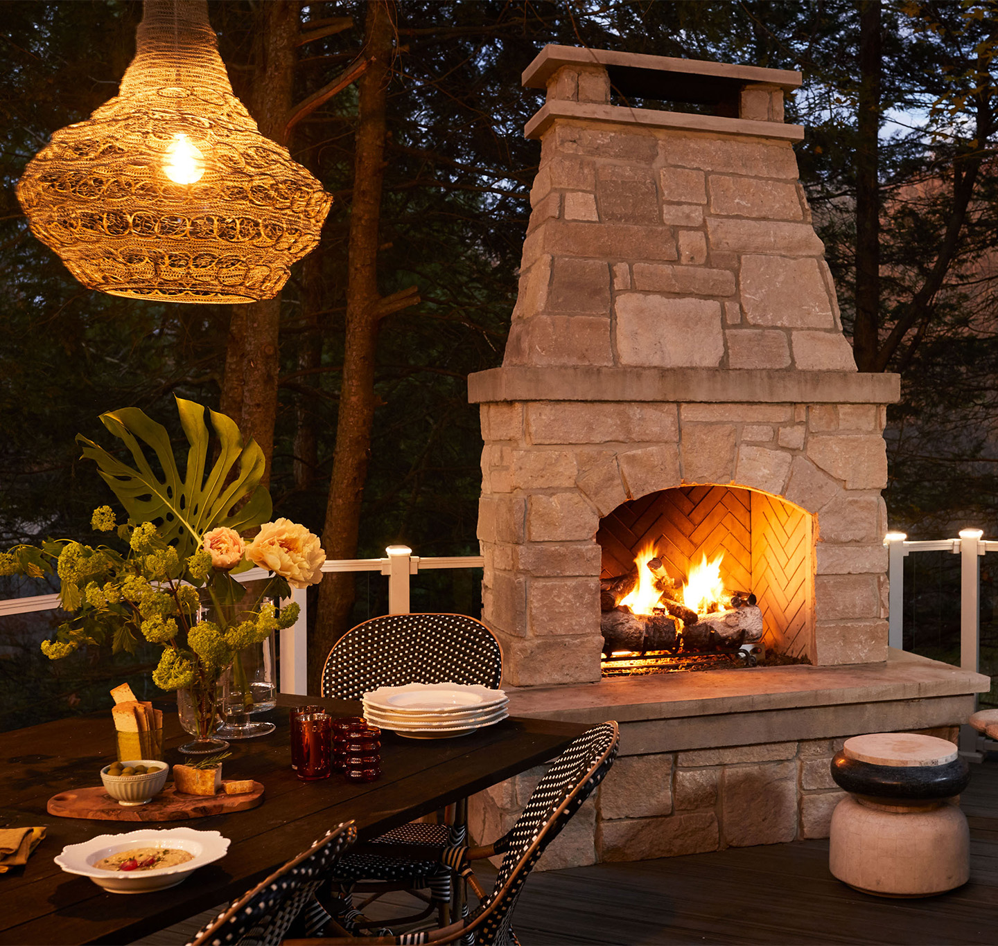 Evette Rios home outdoor fireplace