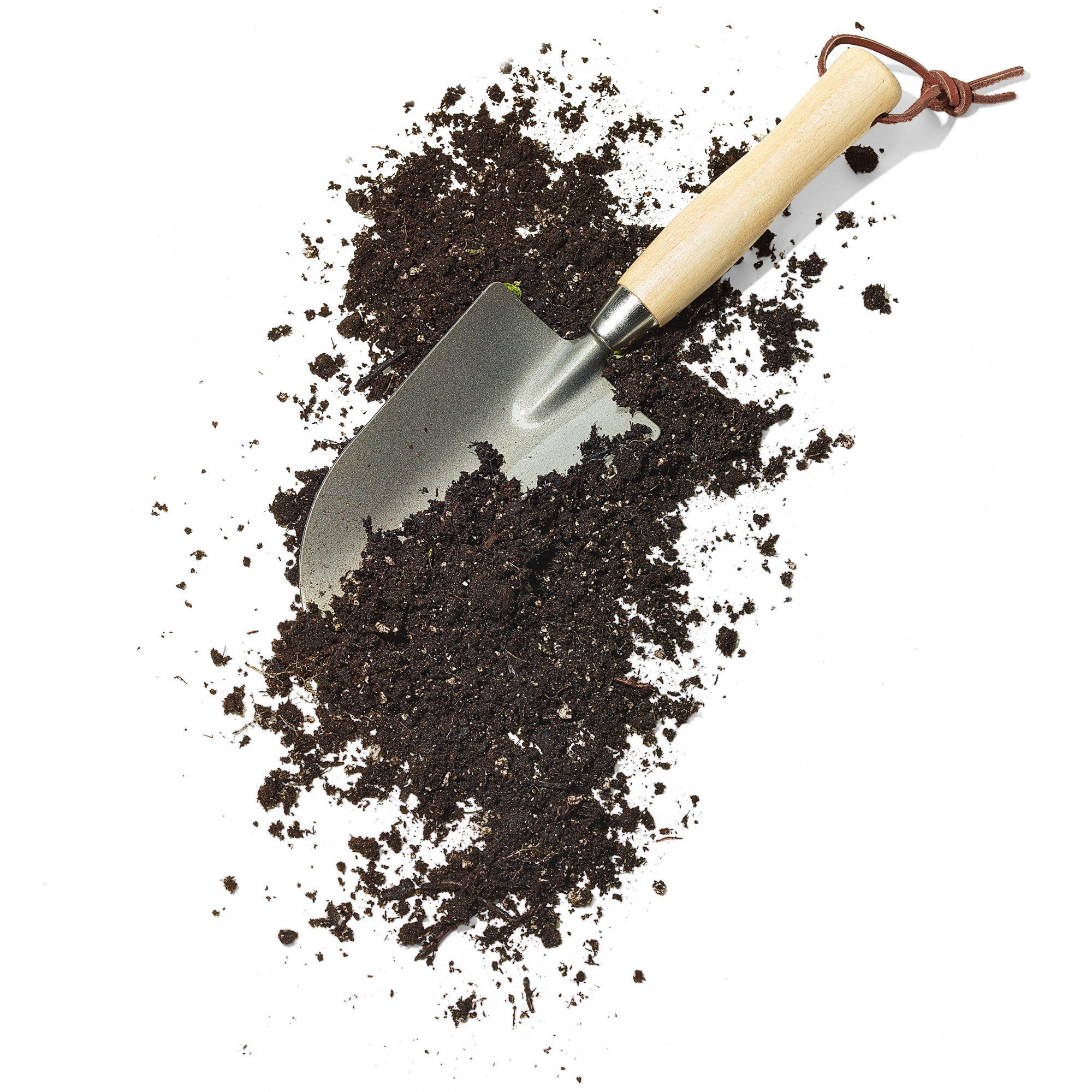 garden trowel tool with soil