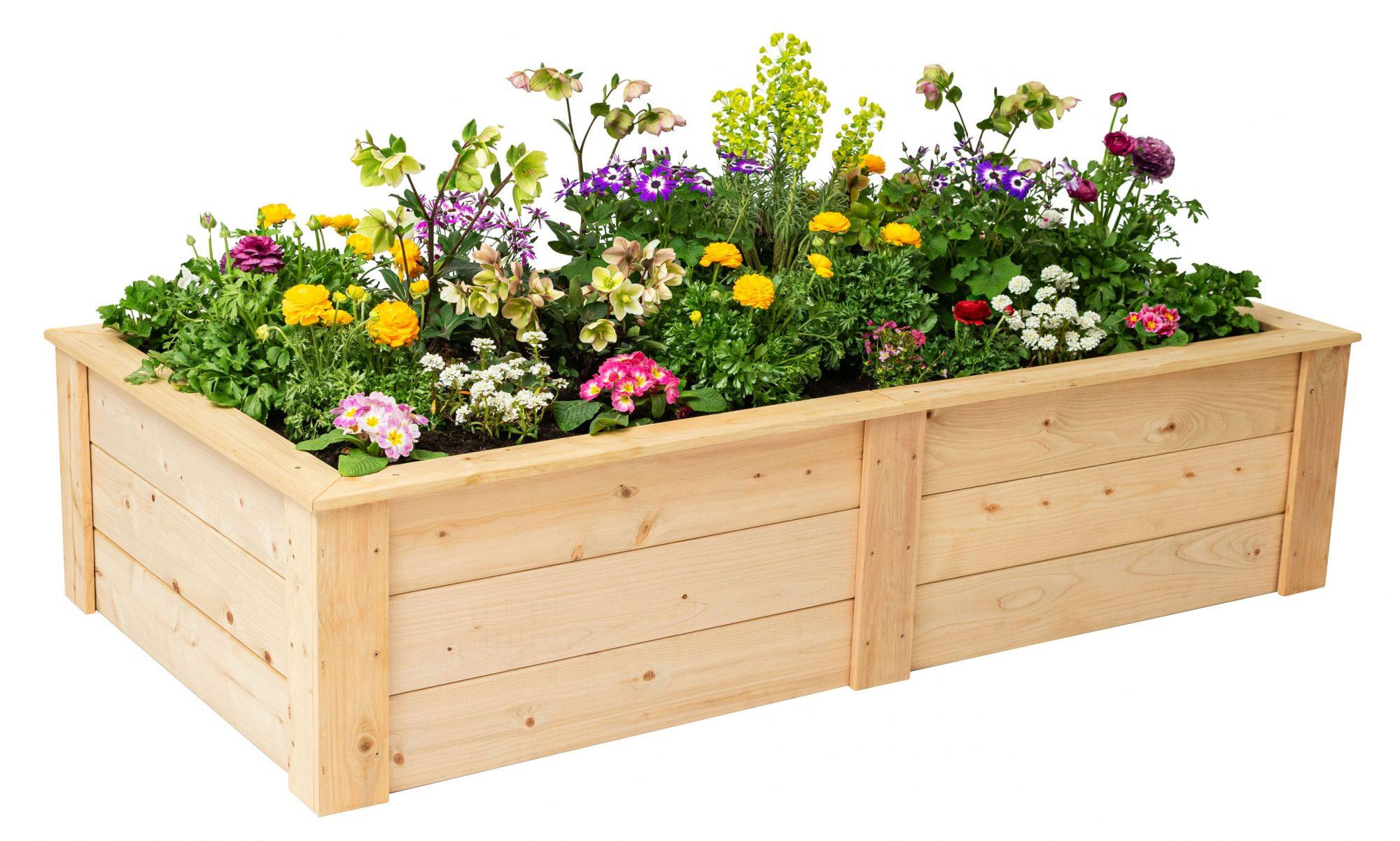 eartheasy natural cedar stackable garden bed