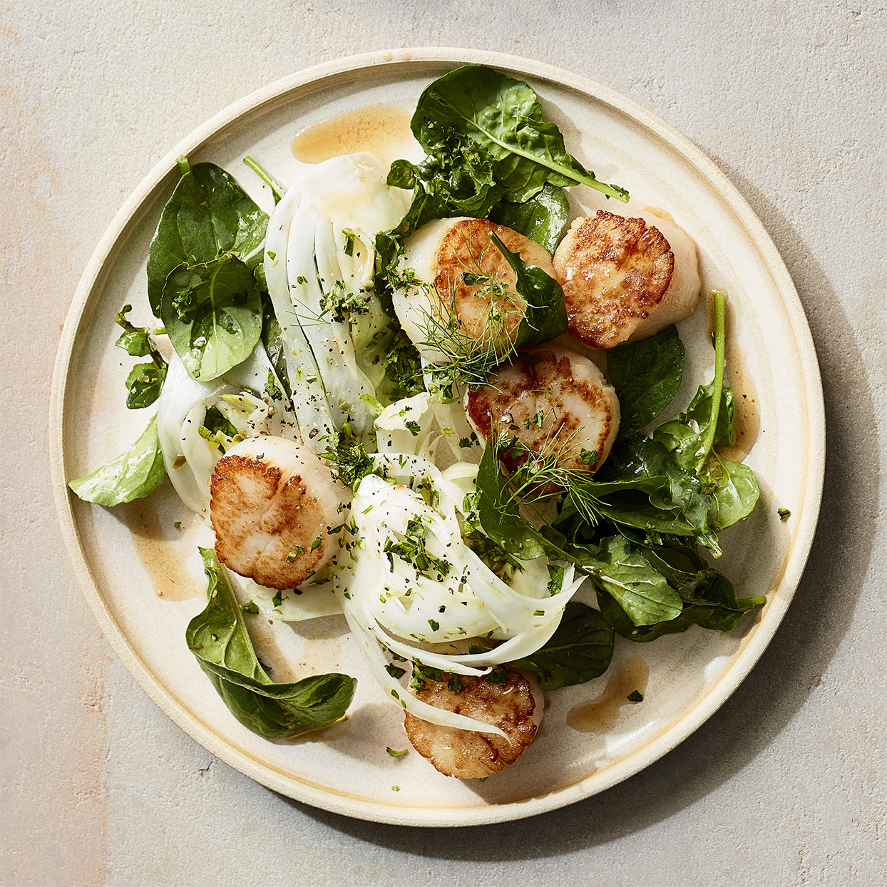 scallops bed of mixed greens fennel EVOO