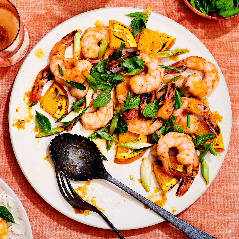 citrus-soy-sriracha broiled shrimp
