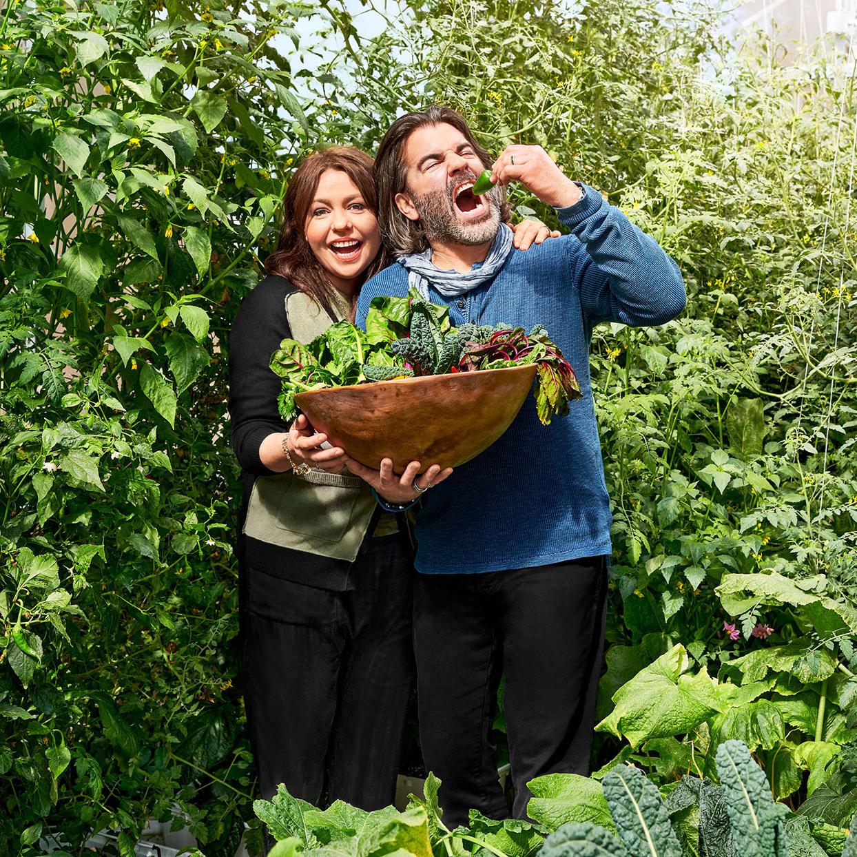 rach and john in vegetable garden