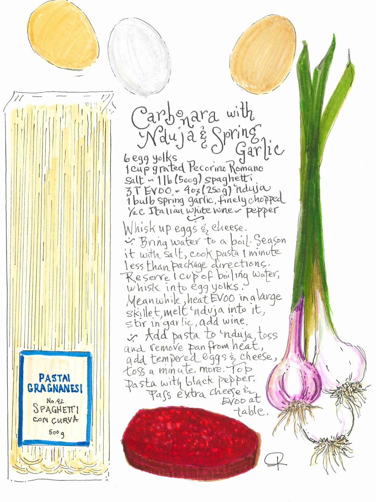 carbonara with 'nduja and spring garlic