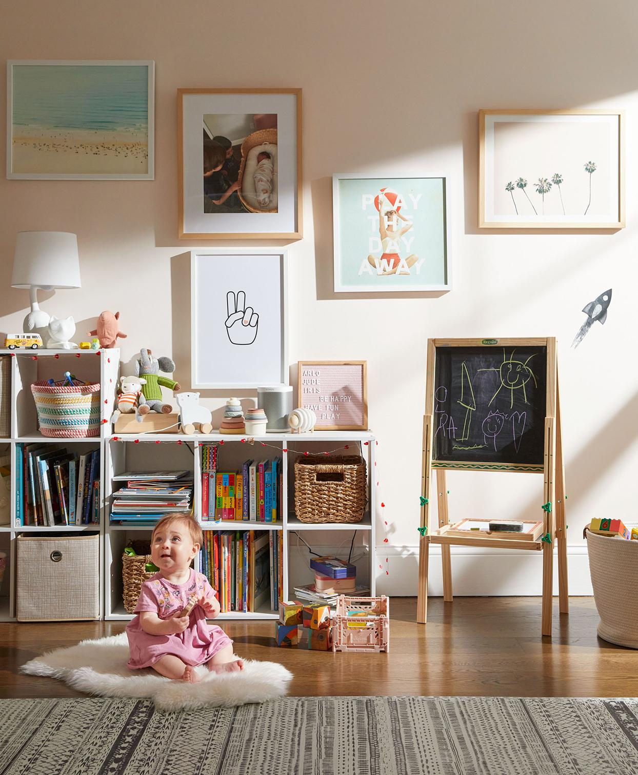 toddler rug playroom cubby organization prints