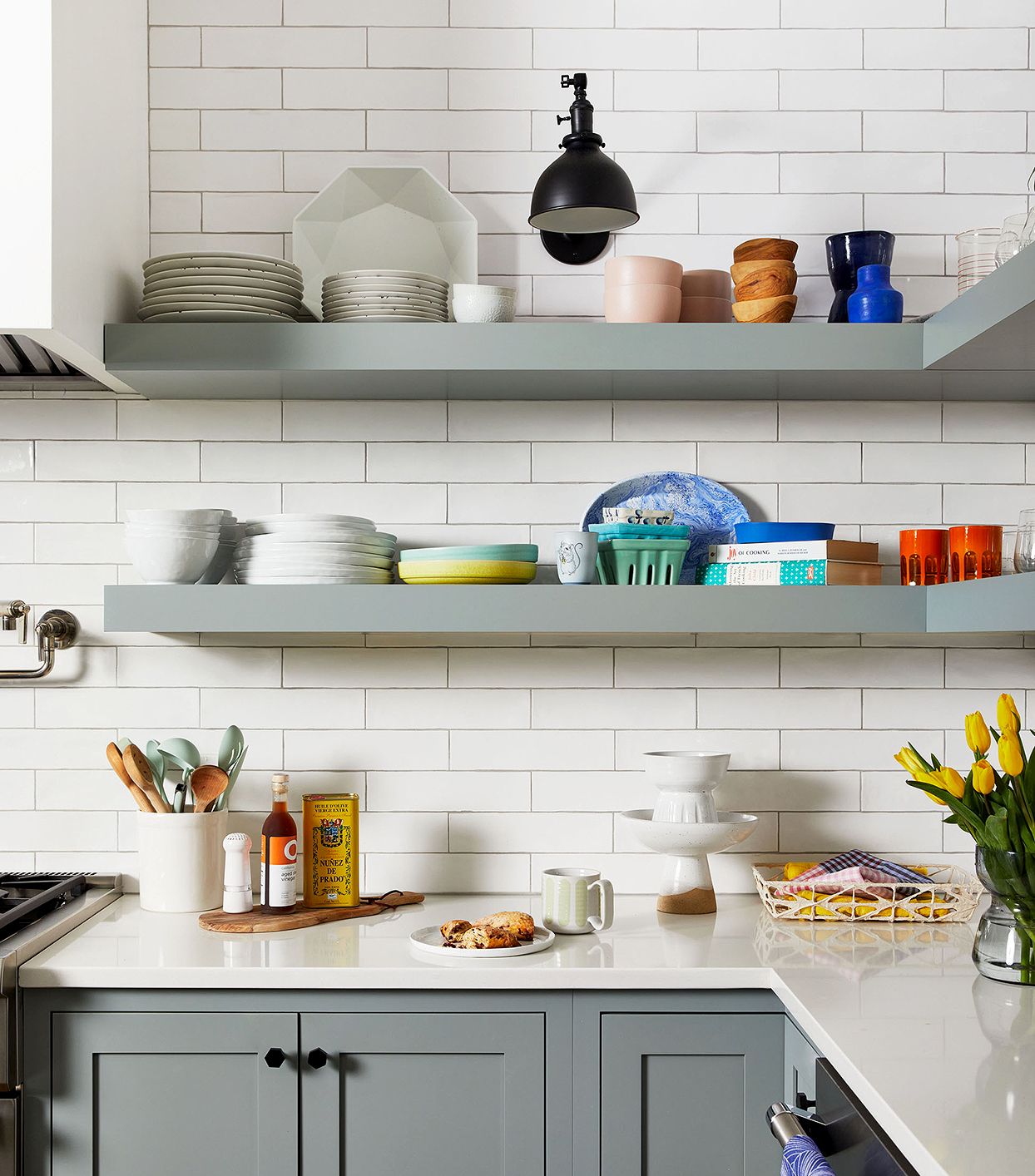 detail gray open shelves kitchen subway tile