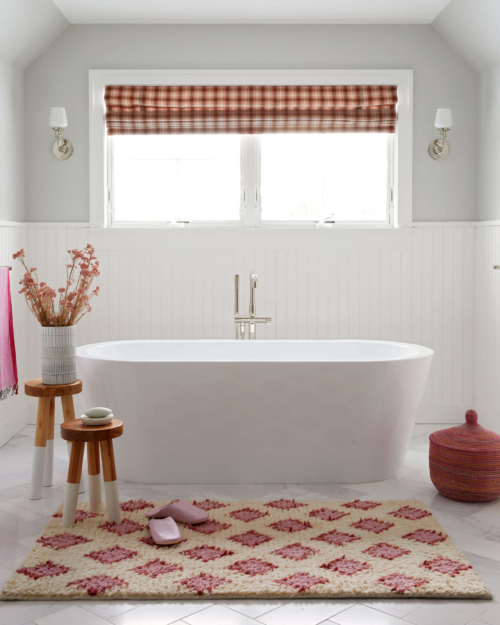 master bath freestanding tub red pink accents