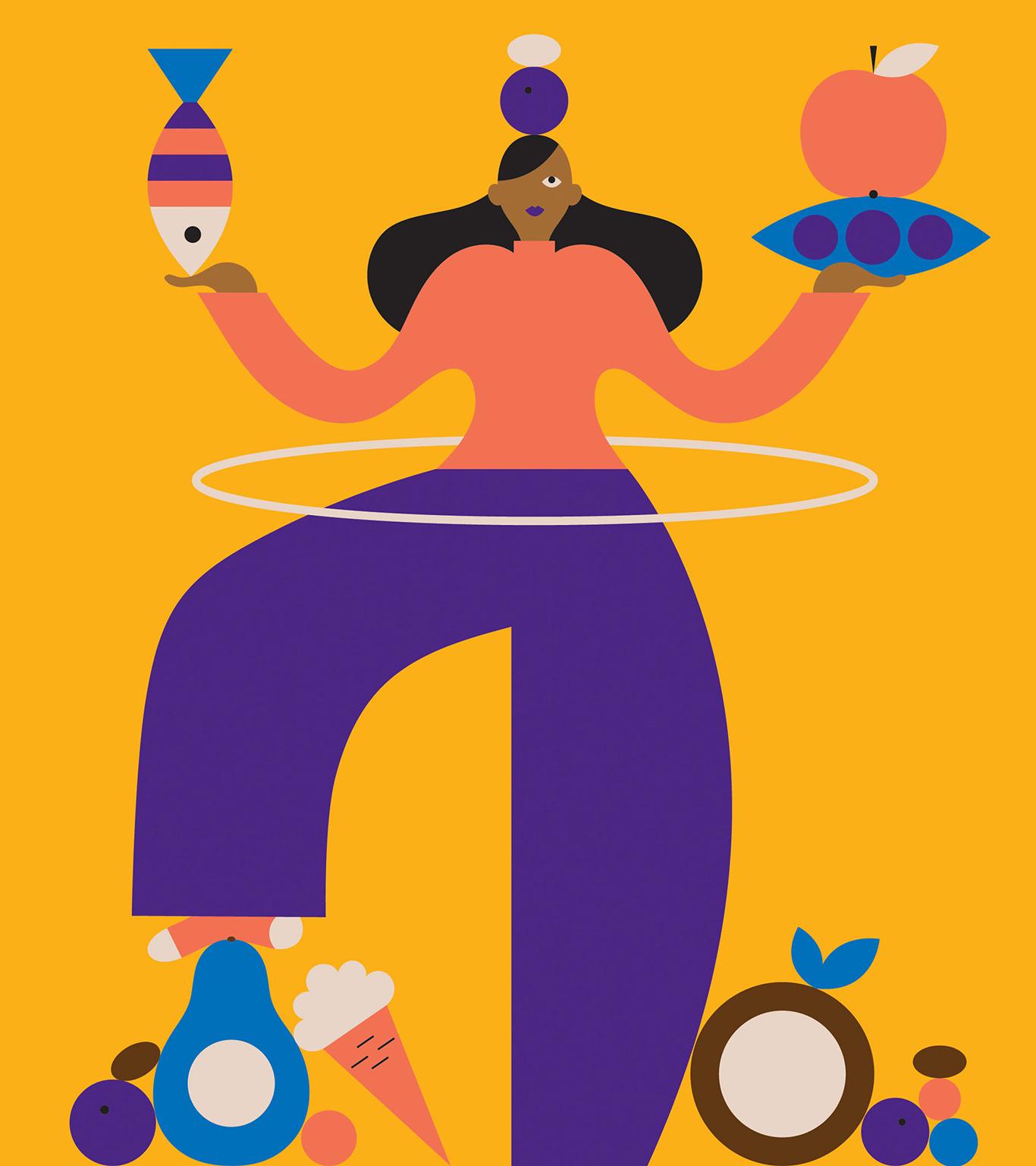 renew illustration woman balancing diet