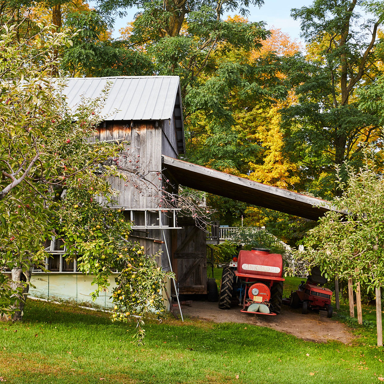 apple orchard tractor and building