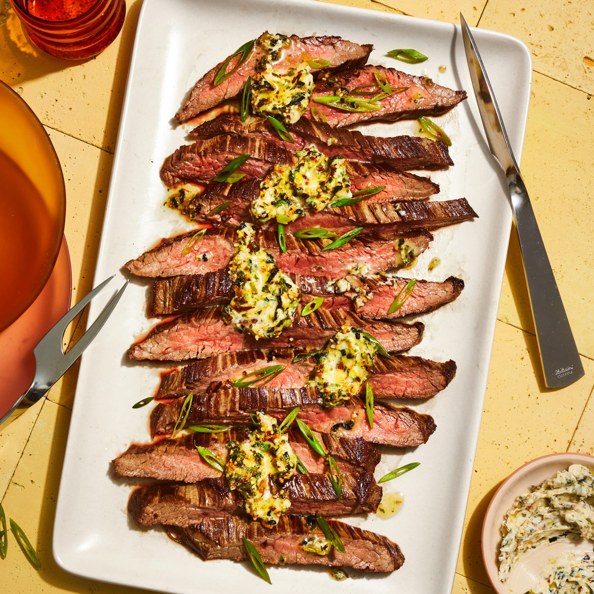 Flank Steak with Charred Scallion & Furikake Butter