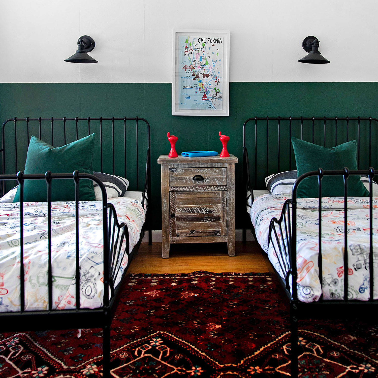 boys two-toned green and white bedroom