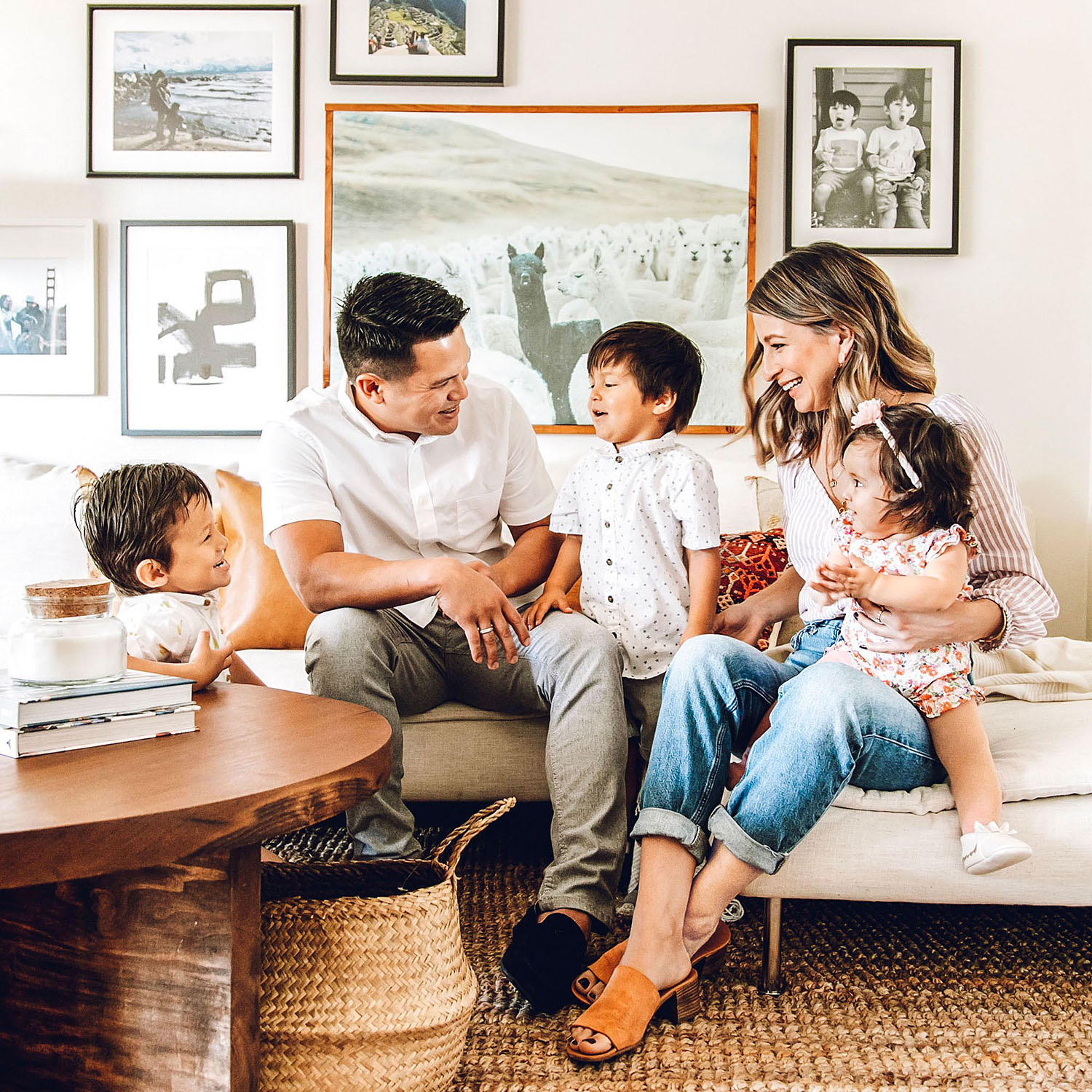 Jacobs family on couch in living room