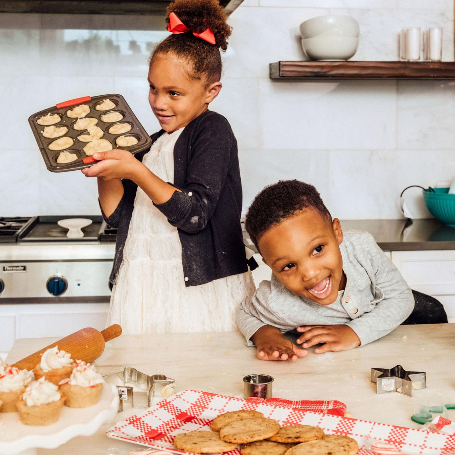 kids enjoying holiday baking