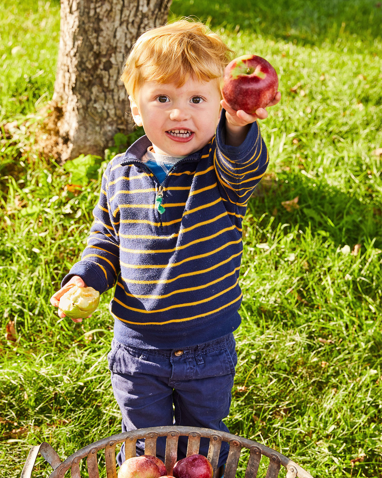 little boy holding apple to share