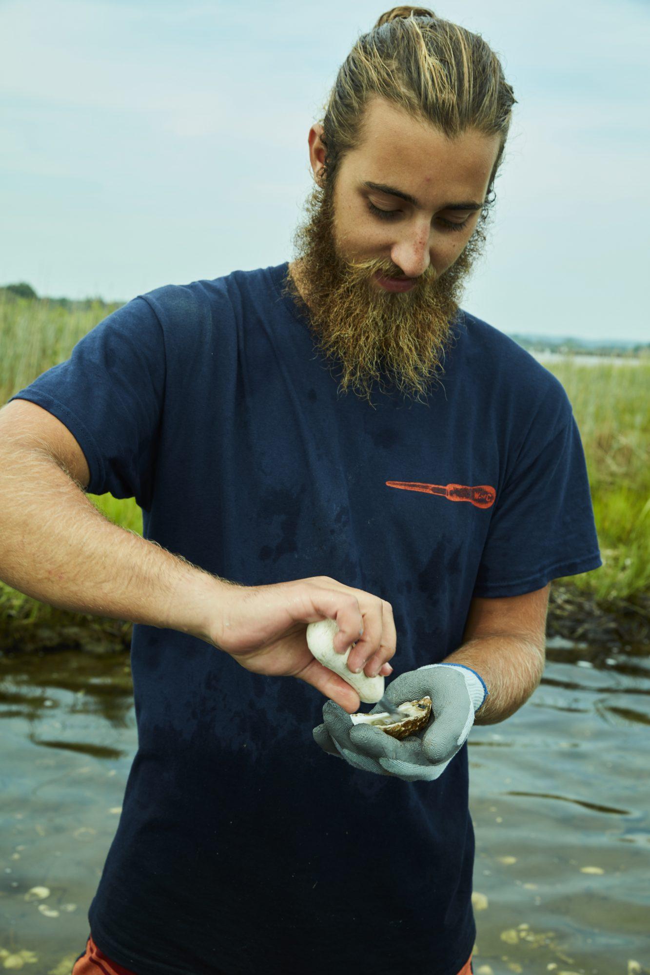 oyster shucking man