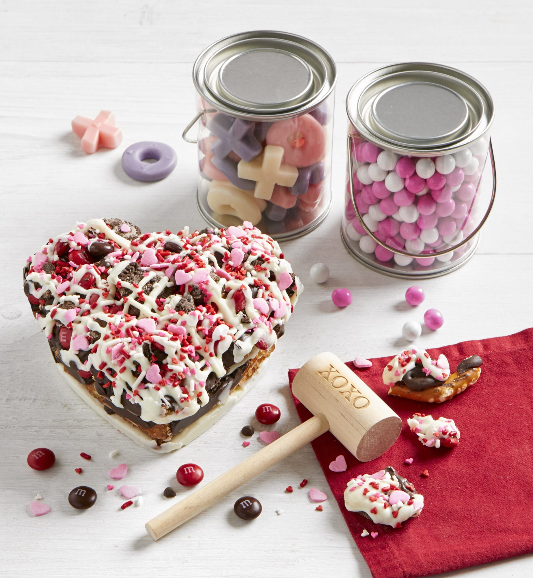 Simply Chocolate Chocolate Pretzel Heart with XOXO Mallet