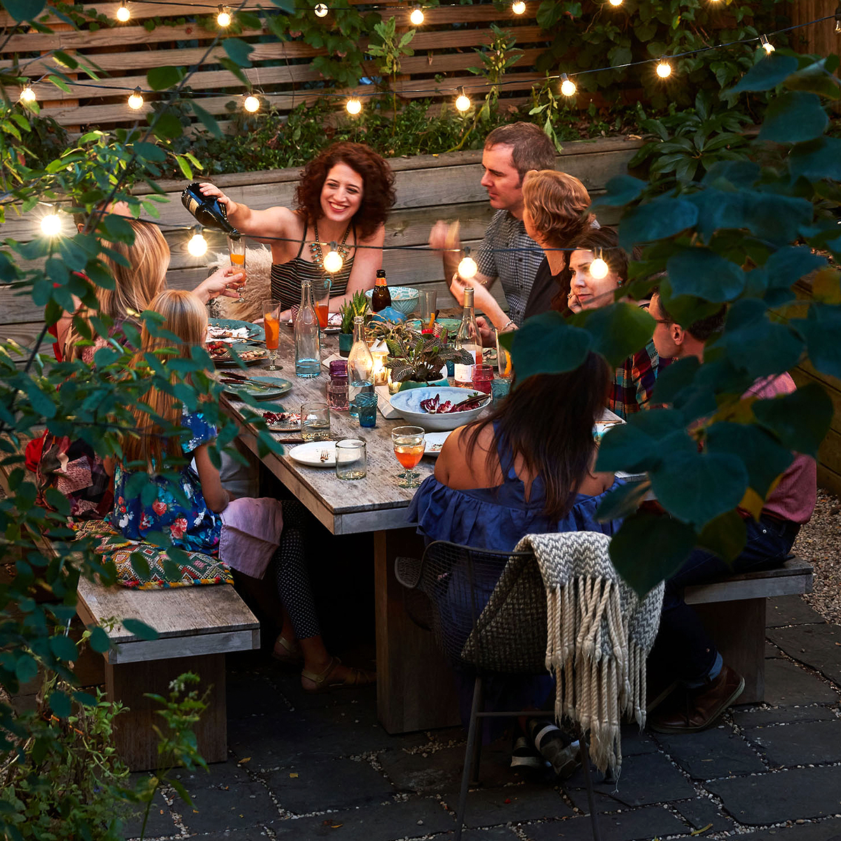 summer outdoor dinner party people family