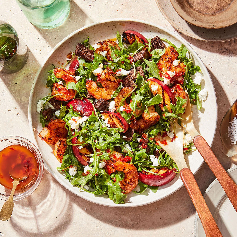 Grilled Shrimp, Peach & Arugula Salad with Calabrian Chile Vinaigrette