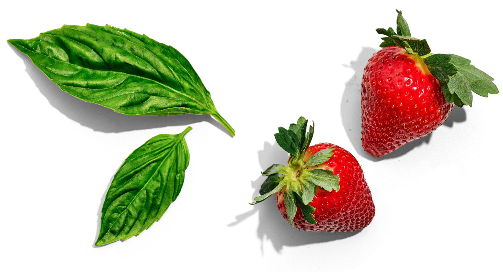 basil leaves and strawberries