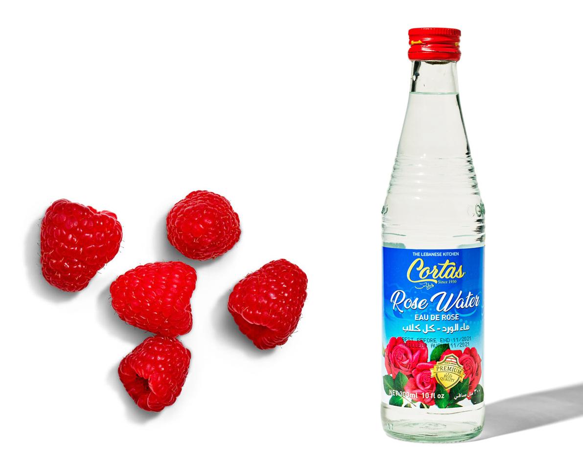 five raspberries and rose water