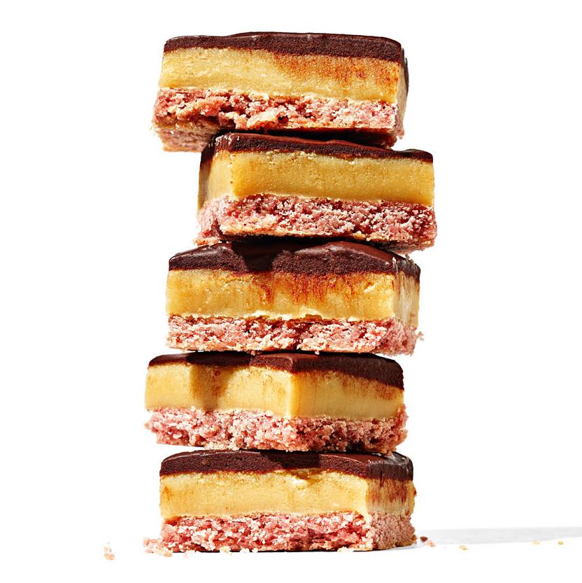 millionaire's-shortbread with raspberry ganache
