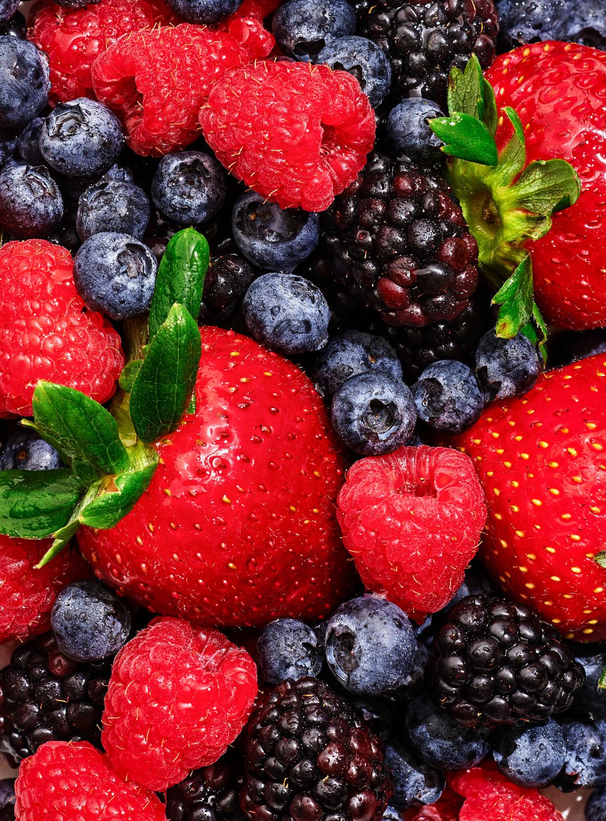 assorted raspberries, strawberries, blackberries, and blueberries