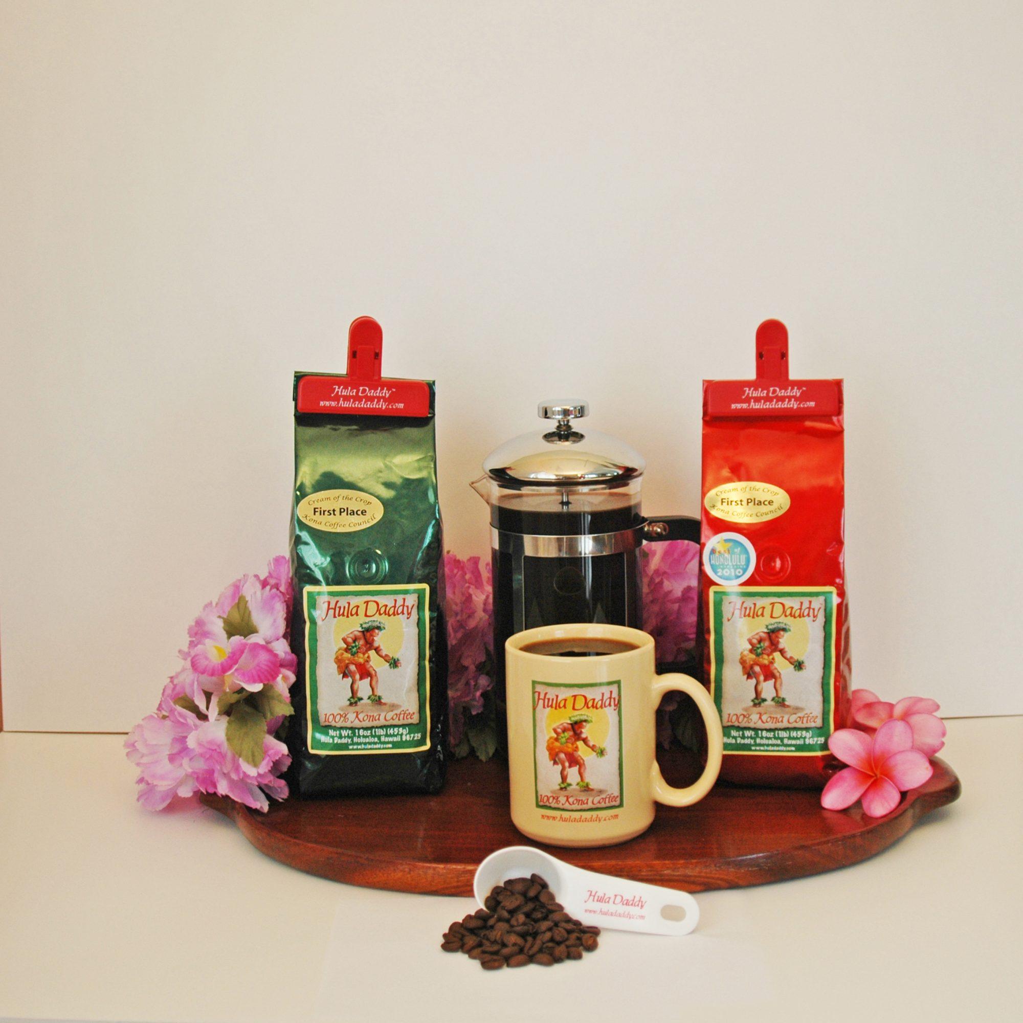 Coffee mug and packaged coffees