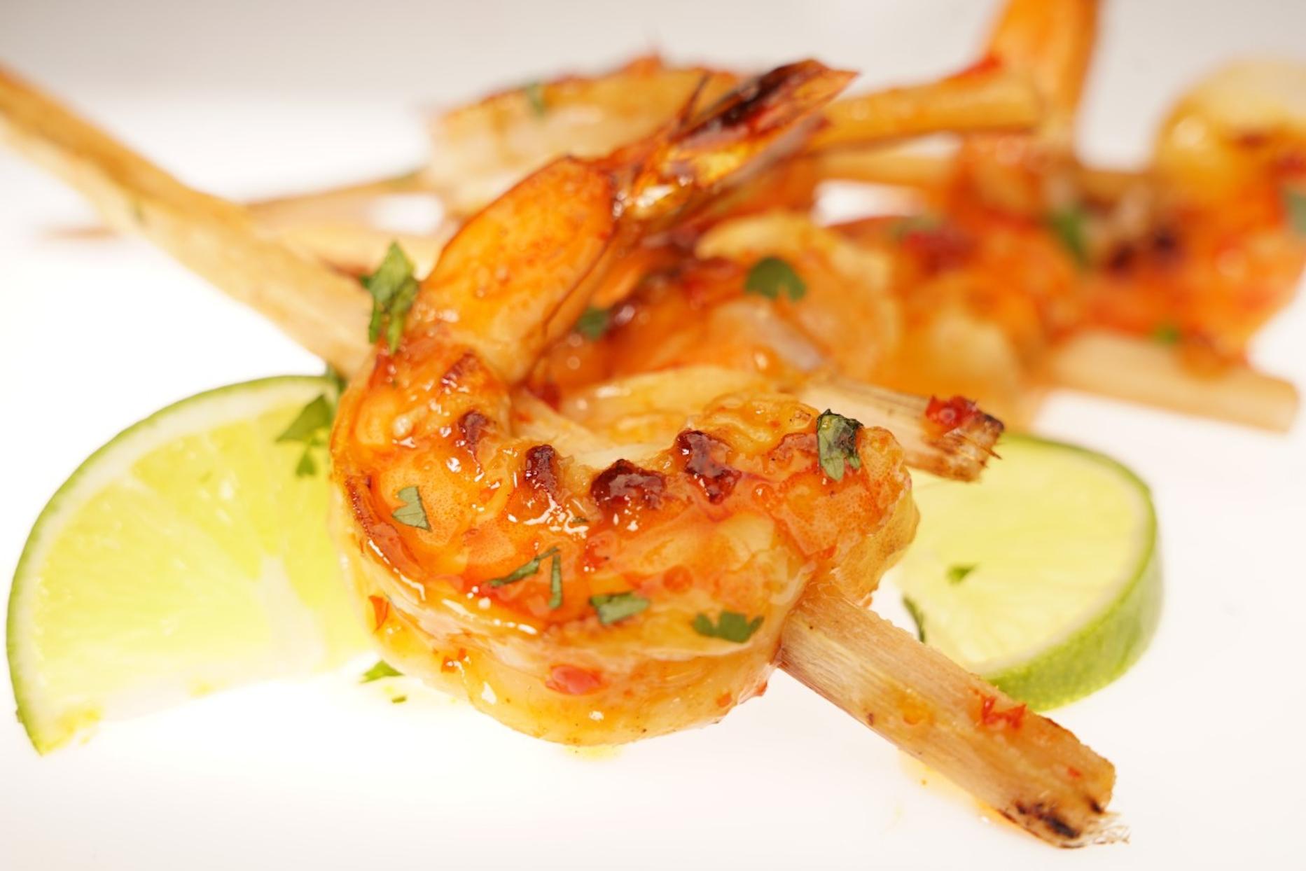 Close up of skewered shrimp
