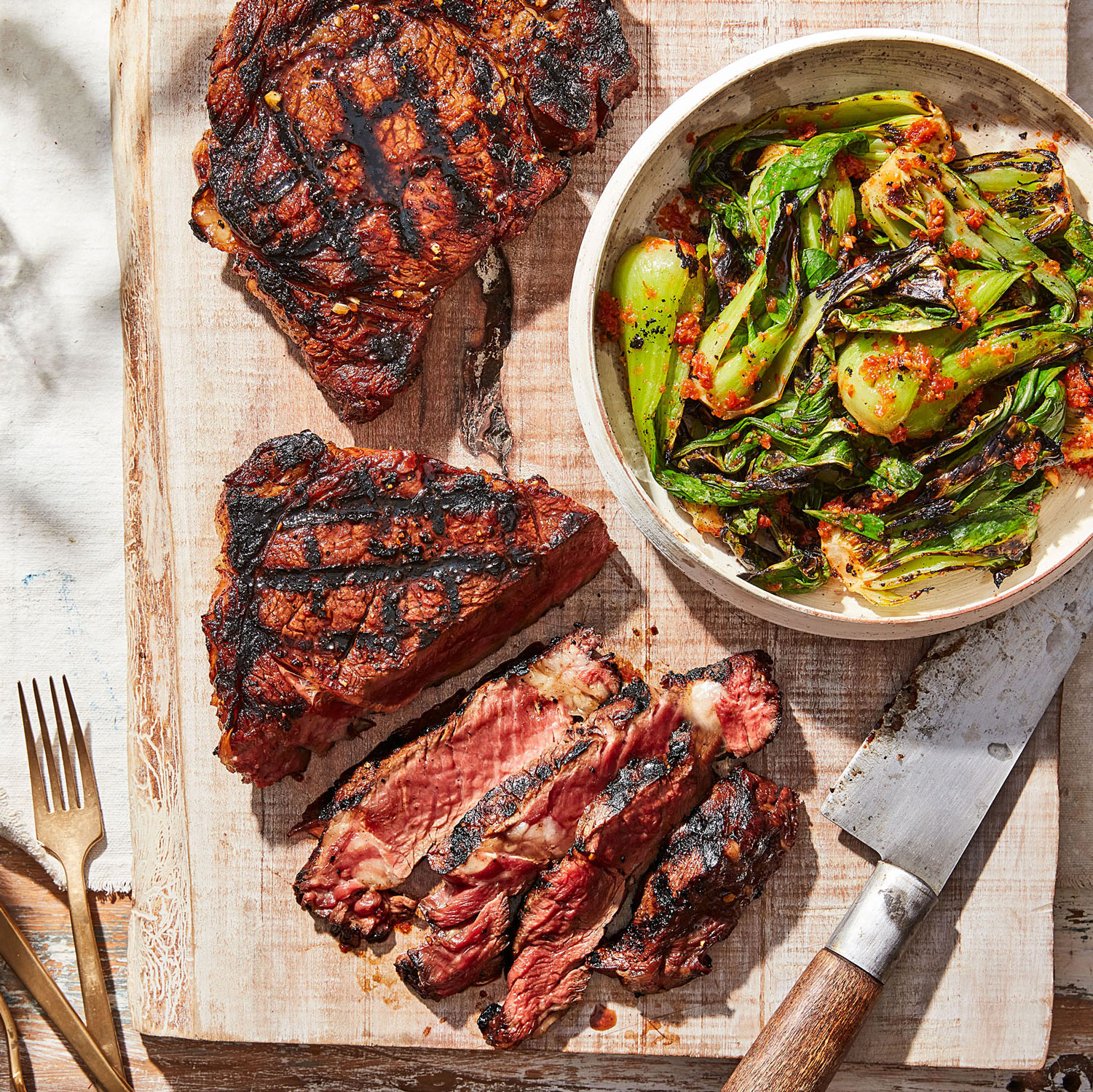 Soy-and-BrownSugar-Grilled Ribeye Steaks with Spicy Grilled Bok Choy