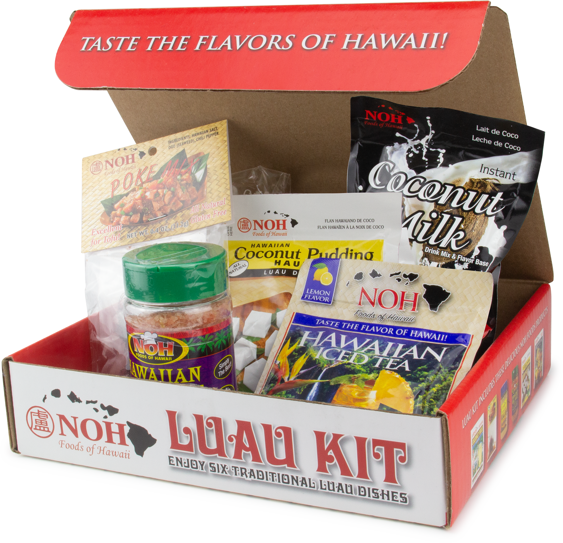 open luau kit box with it's contents