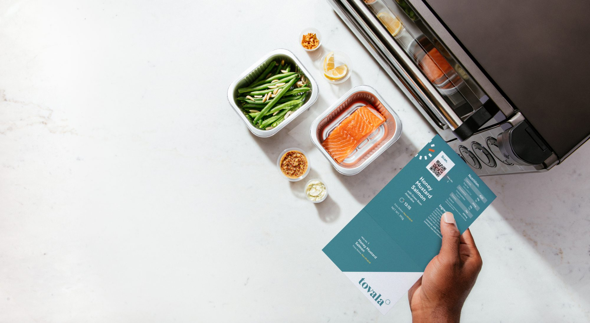Tovala oven and meal kit showing barcode reader