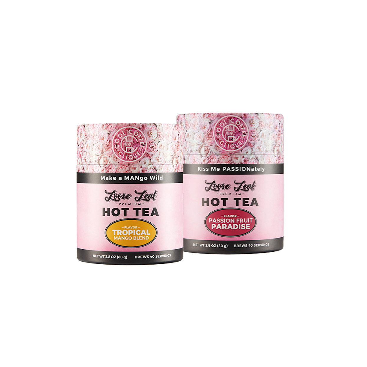 Product shot of the mango and passion fruit hot teas