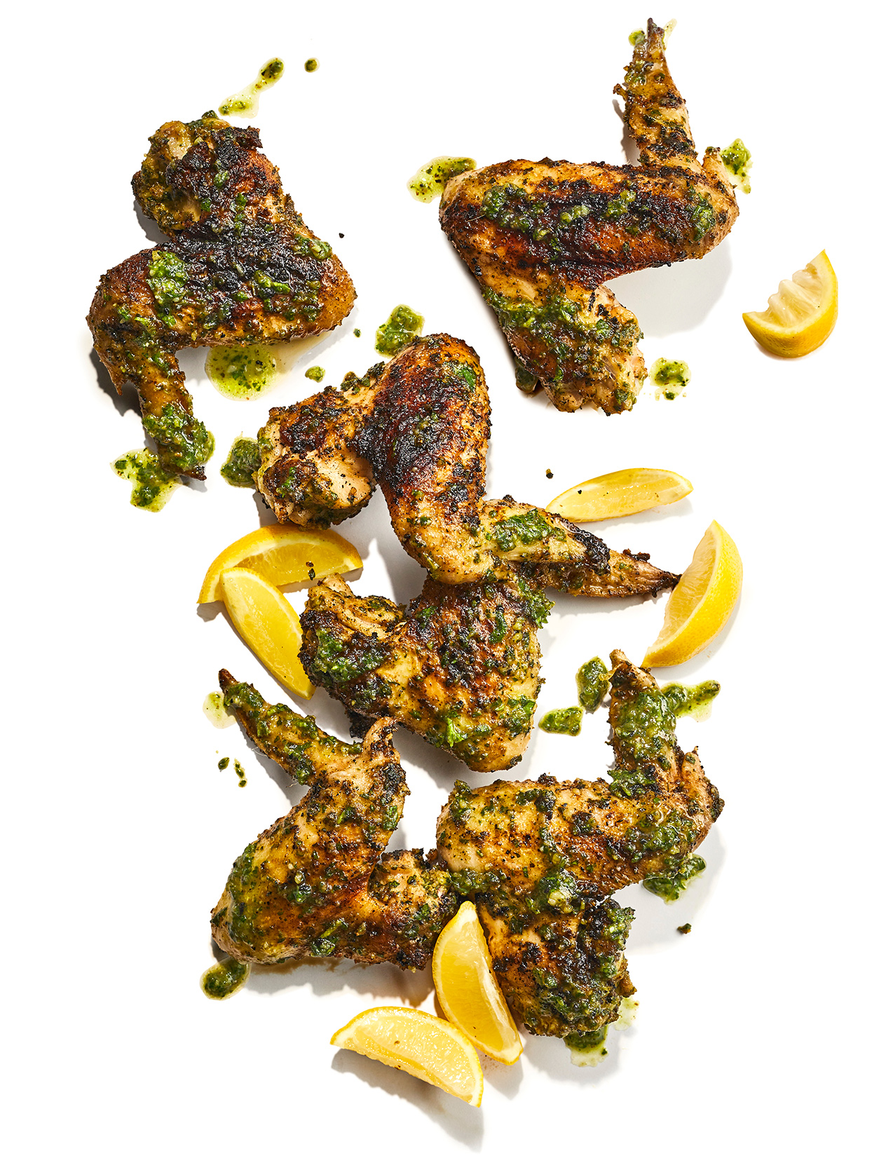 Grilled Pesto Wings lemon slices